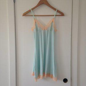 NWOT Blush Light Blue/Green Slip Dress With Lace